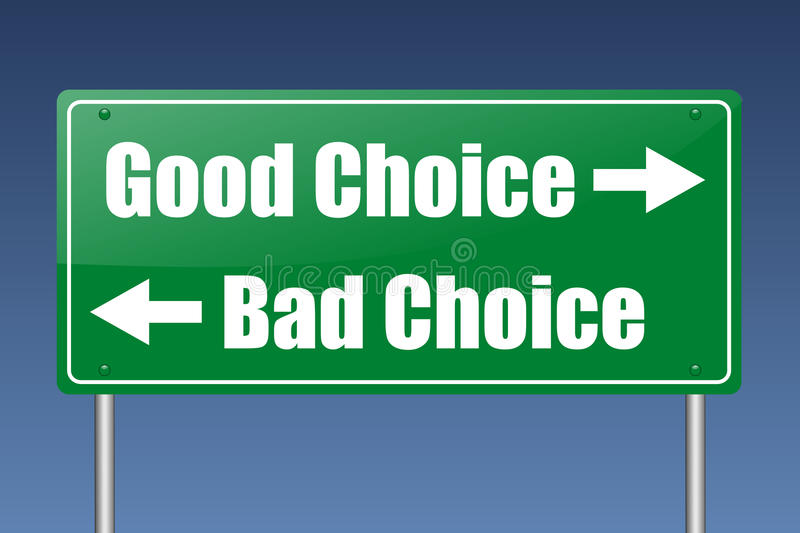 dåligt choice gott stock illustrationer