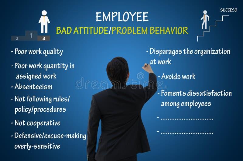 Dåligt inställning för anställd och problemuppförande vektor illustrationer