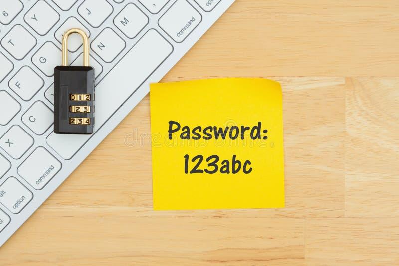 dåligt lösenord 123abc med låset på ett tangentbord med en klibbig anmärkning royaltyfri bild