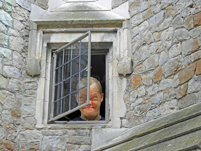 Dåre som ut ser från asylfönster royaltyfri bild