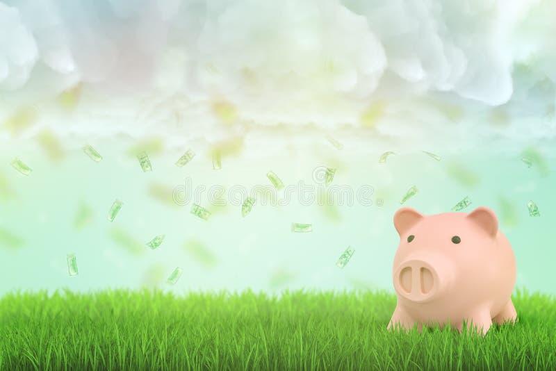3d桃红色存钱罐翻译有金钱美元的在绿草和白色云彩背景的天空中 免版税库存照片