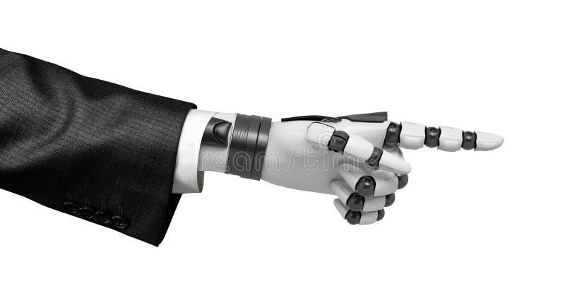 3d机器人手特写镜头翻译在今后指向与它的食指的衣服的隔绝在白色背景 库存图片