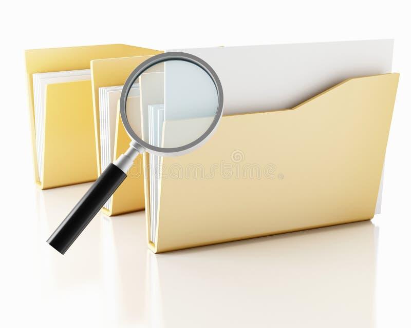 3d有文件夹的放大镜 皇族释放例证