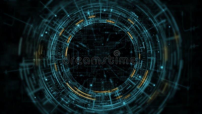 3D抽象技术产品陈列室翻译  发光在黑暗的背景的黄色和蓝色科学幻想小说圈子电路hud 库存例证