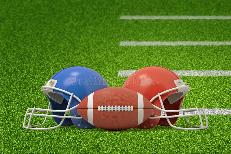 3d球翻译美式足球的在说谎在绿色领域的两件盔甲前面 皇族释放例证