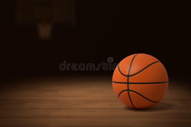 3d篮球的翻译在一间昏暗地被点燃的健身房的木地板上的 库存照片