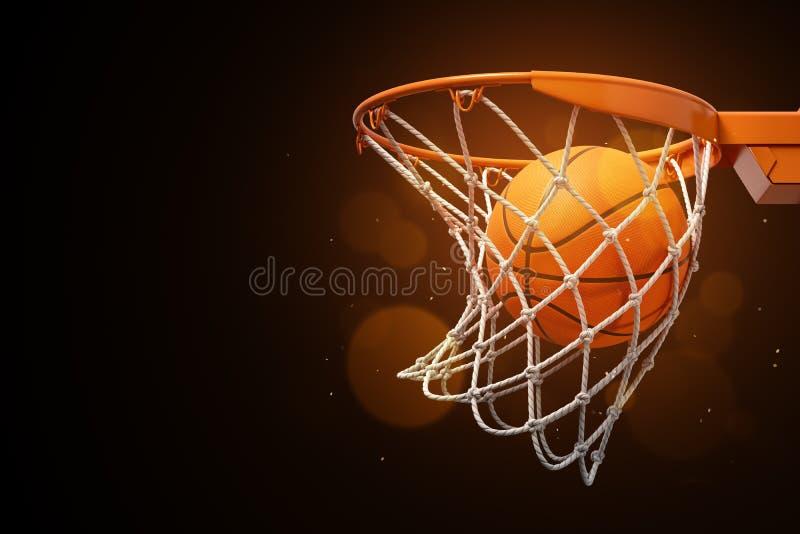 3d篮球的翻译在网的在黑暗的背景 免版税图库摄影