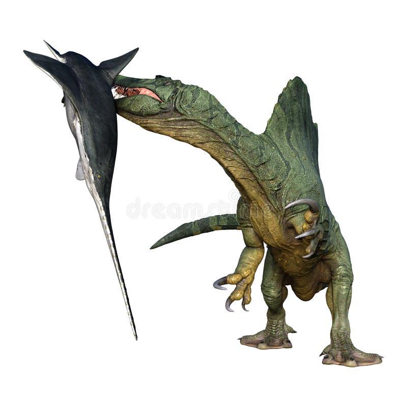 3D翻译恐龙Spinosaurus和在白色的Onchopristis鱼 库存例证