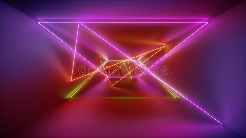 3d翻译,发光的线,霓虹灯,抽象荧光的背景,红色桃红色黄色充满活力的颜色,激光展示 向量例证