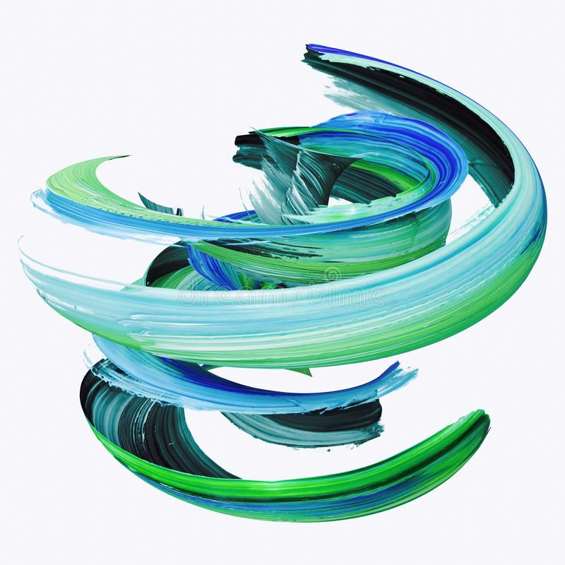 3d翻译,抽象扭转的刷子冲程,油漆飞溅,泼溅物,五颜六色的卷毛,艺术性的螺旋,隔绝在白色 免版税库存图片