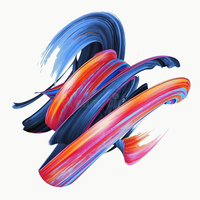 3d翻译,抽象扭转的刷子冲程,油漆飞溅,泼溅物,五颜六色的卷毛,艺术性的螺旋,隔绝在白色 皇族释放例证
