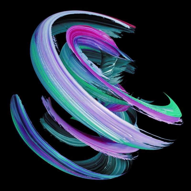 3d翻译,抽象扭转的刷子冲程,油漆飞溅,泼溅物,五颜六色的卷毛,艺术性的螺旋,隔绝在黑背景 库存例证