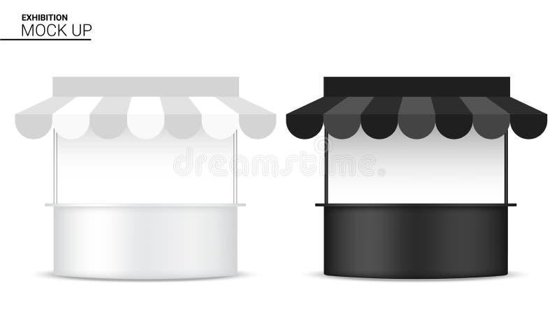 3D现实报亭的嘲笑显示POP摊待售营销促进陈列背景例证 向量例证