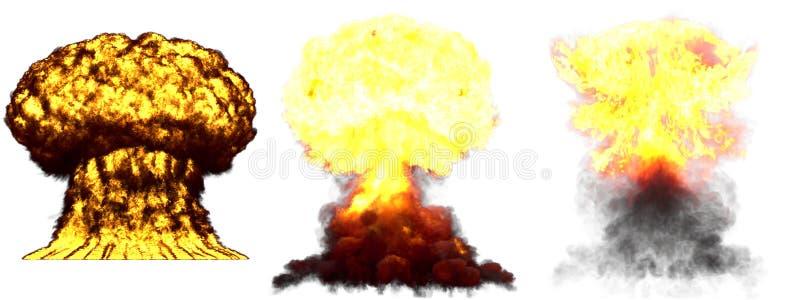 3D爆炸- 3个氢弹巨大的非常详细的另外阶段蘑菇云爆炸的例证与烟和火的 皇族释放例证
