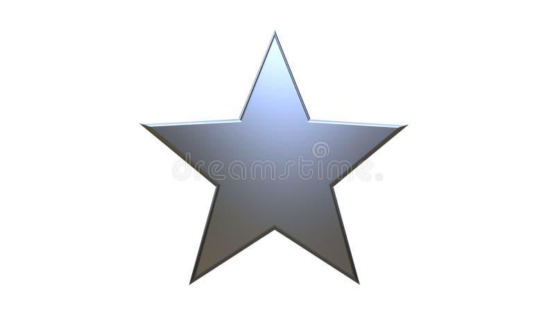 3D被隔绝的一个银色星的例证 库存例证