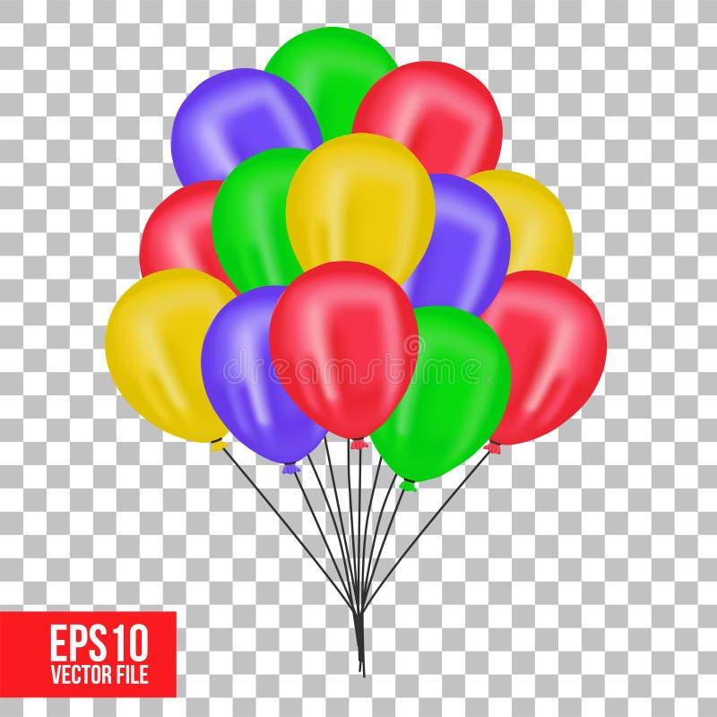 3D飞行五颜六色的氦气气球被隔绝的对象 皇族释放例证