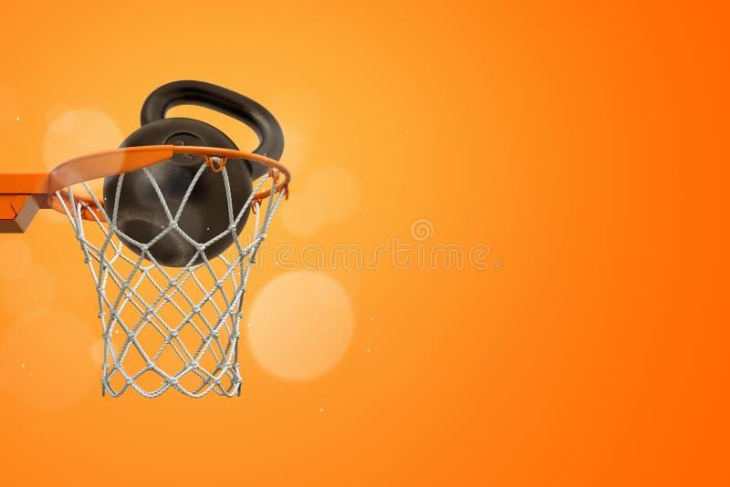 3d黑金属kettlebell翻译在篮球圆环的在橙色背景 库存图片