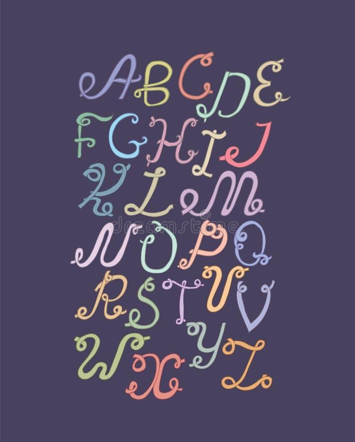 Dé a ABC exhausto las letras enrrolladas, aisladas en fondo ligero Alfabeto colorido dibujado mano, ejemplo Fuente basada en remo ilustración del vector