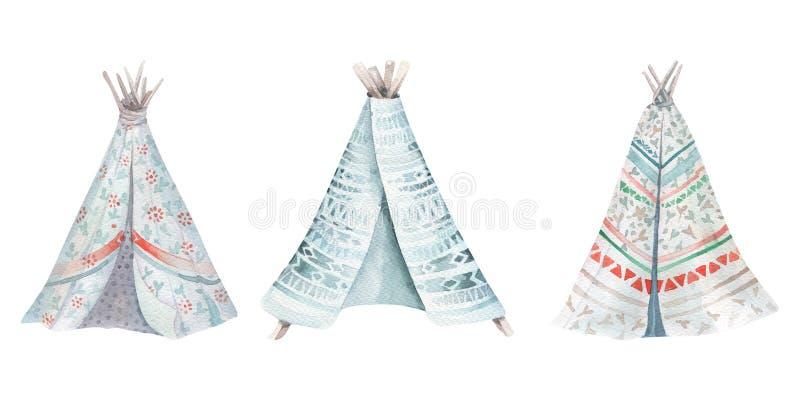 Dé a acuarela exhausta la tienda de los indios norteamericanos tribal, tienda blanca aislada del sitio para acampar Ornamento tra imágenes de archivo libres de regalías