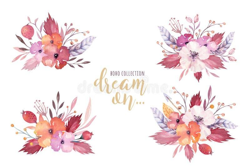 Dé a acuarela exhausta los ramos florales tribales aislados en blanco Watercolour tradicional de Boho América que se casa al natu stock de ilustración