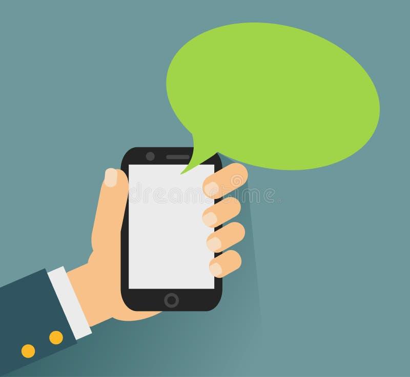 Dé agujerear smartphone con la burbuja en blanco del discurso para el texto ilustración del vector
