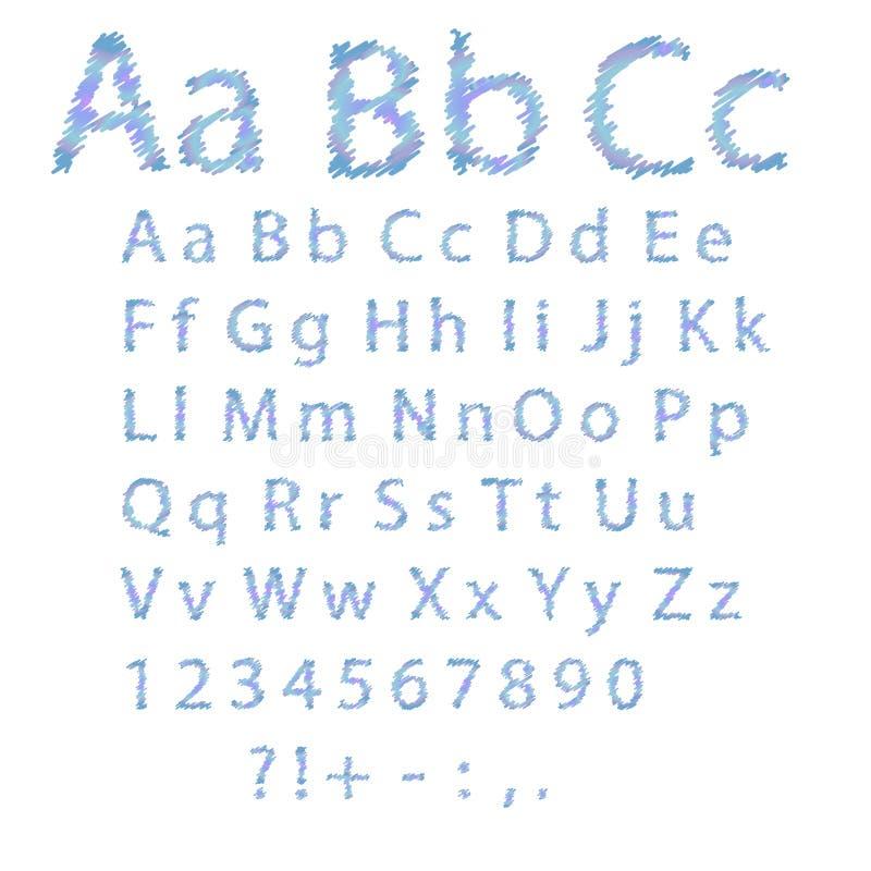 Dé a alfabeto exhausto el color azul en el fondo blanco Mayúsculas intrépidas ilustración del vector