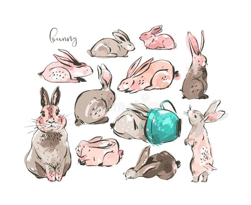 Dé a bosquejo exhausto de la tinta del extracto del vector el dibujo gráfico Pascua feliz escandinava colección simple de los eje libre illustration