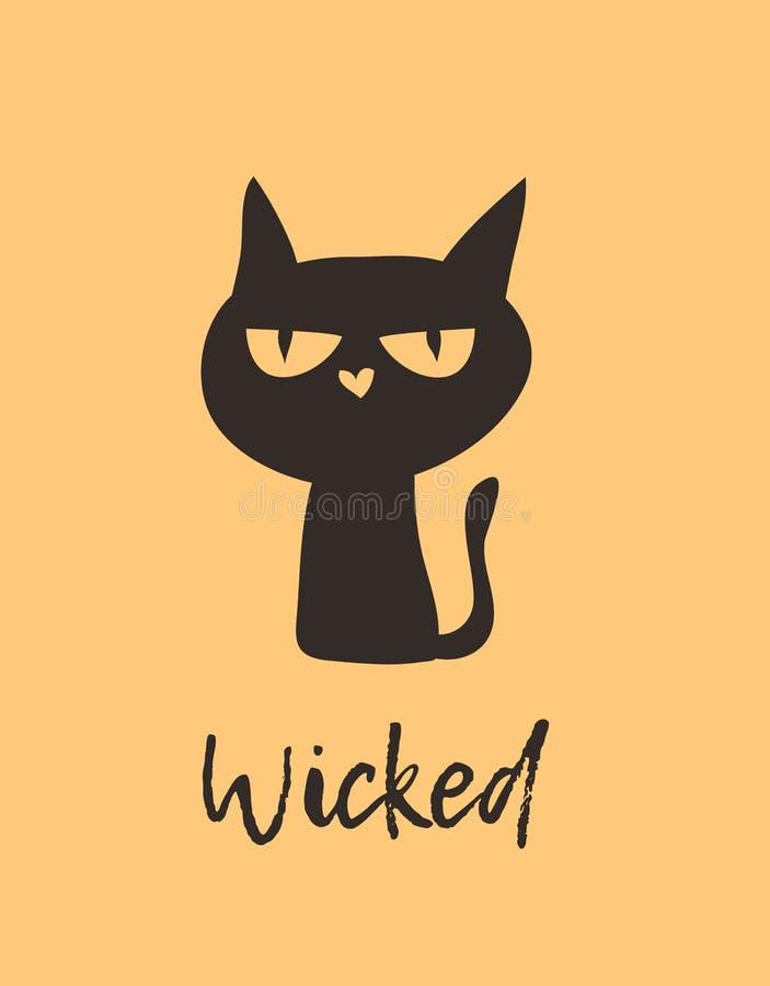 Dé a bruja exhausta del ejemplo el gato negro y cite Trabajo de arte creativo de la tinta Dibujo real del vector Chara aislado ar libre illustration