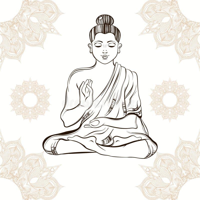 Dé Buda exhausto en la meditación en fondo del ornamental del vintage stock de ilustración
