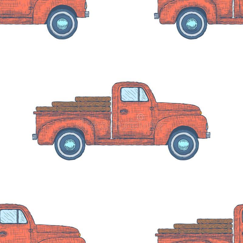 Dé a camioneta pickup retra grabada exhausta del vintage el modelo inconsútil Vector libre illustration