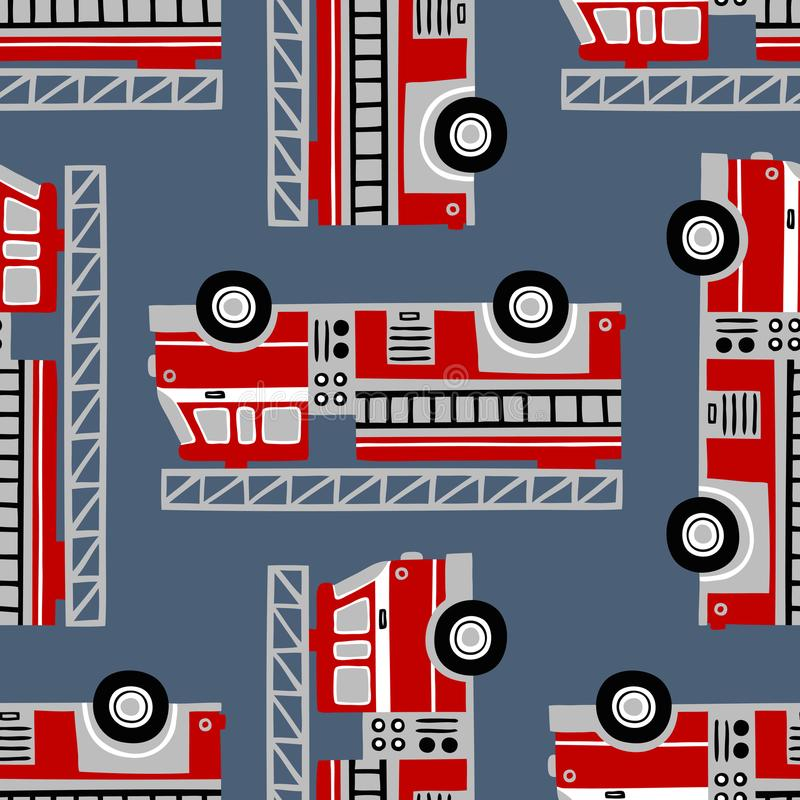 Dé a coches de bomberos exhaustos el modelo inconsútil del vector en fondo azul stock de ilustración