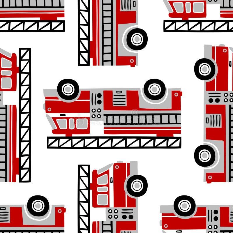 Dé a coches de bomberos exhaustos el modelo inconsútil del vector en el fondo blanco stock de ilustración