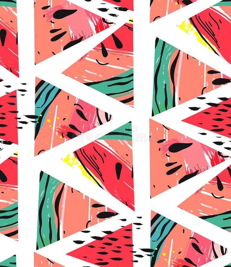 Dé a collage exhausto del extracto del vector el modelo inconsútil con formas del inconformista del adorno y del triángulo de la  ilustración del vector