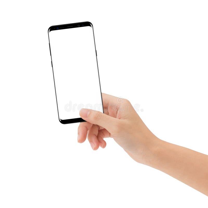 Dé a control el teléfono elegante aislado del fondo blanco fotos de archivo