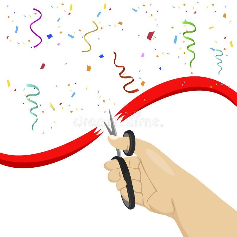 Dé cortar la cinta roja con las tijeras en el fondo blanco con confeti colorido ilustración del vector