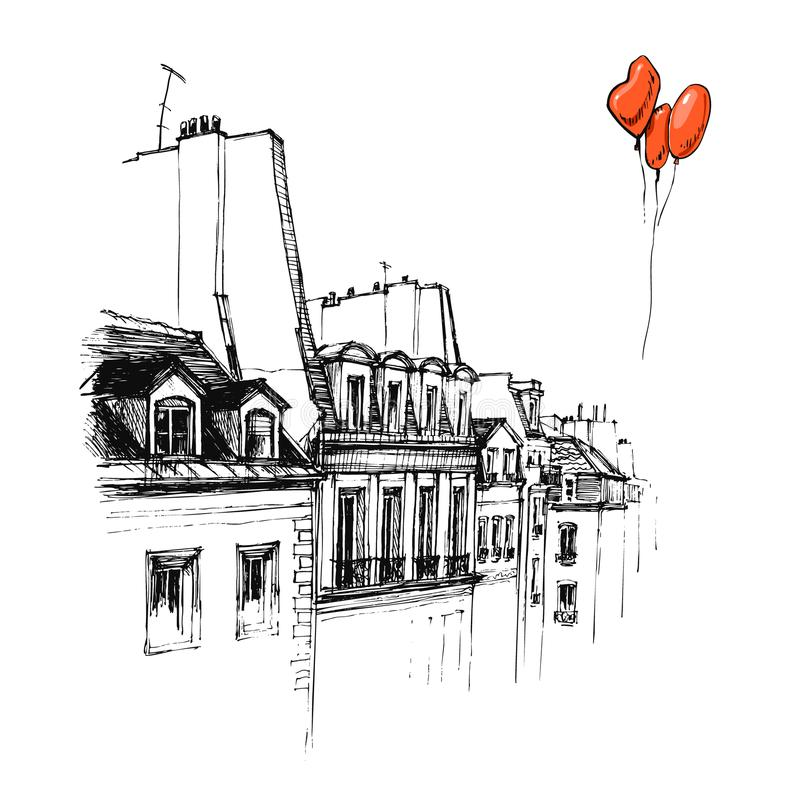 Dé dibujado el tejado de París, bosquejo urbano del tejado fotos de archivo libres de regalías
