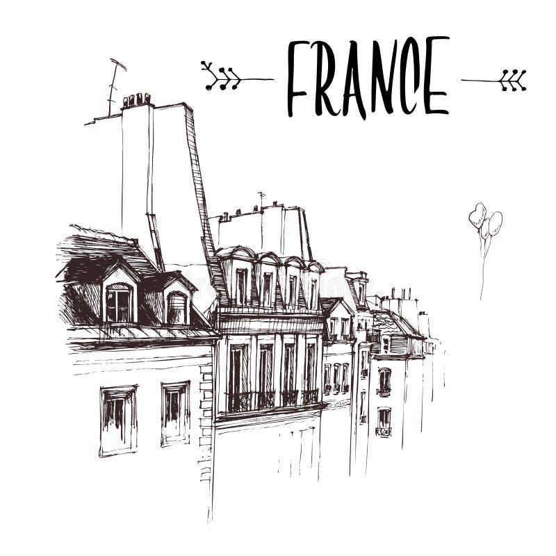 Dé dibujado el tejado de París, bosquejo urbano del tejado Ejemplo de libro a mano, postal turística o plantilla del cartel adent fotos de archivo libres de regalías