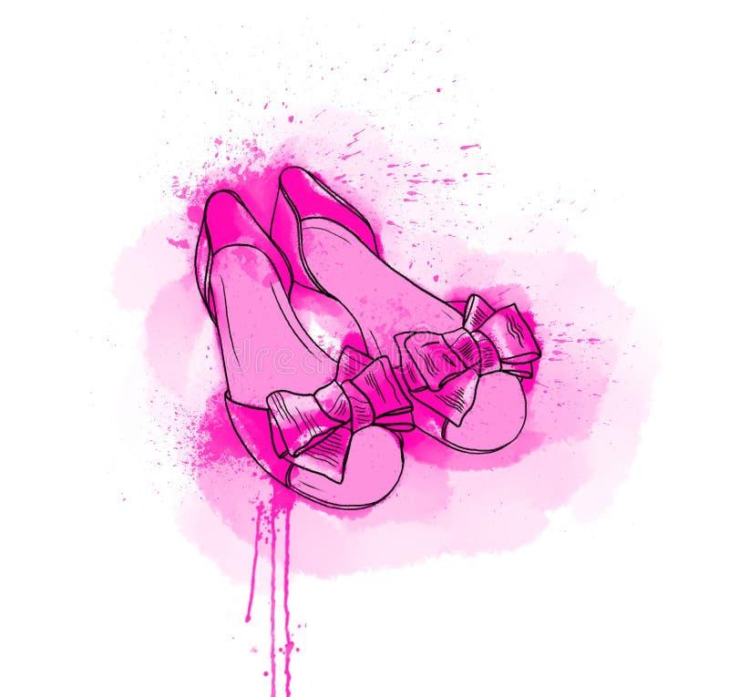 Dé dibujado un par de zapatos del rosa del verano Un san plano de niña de lujo libre illustration