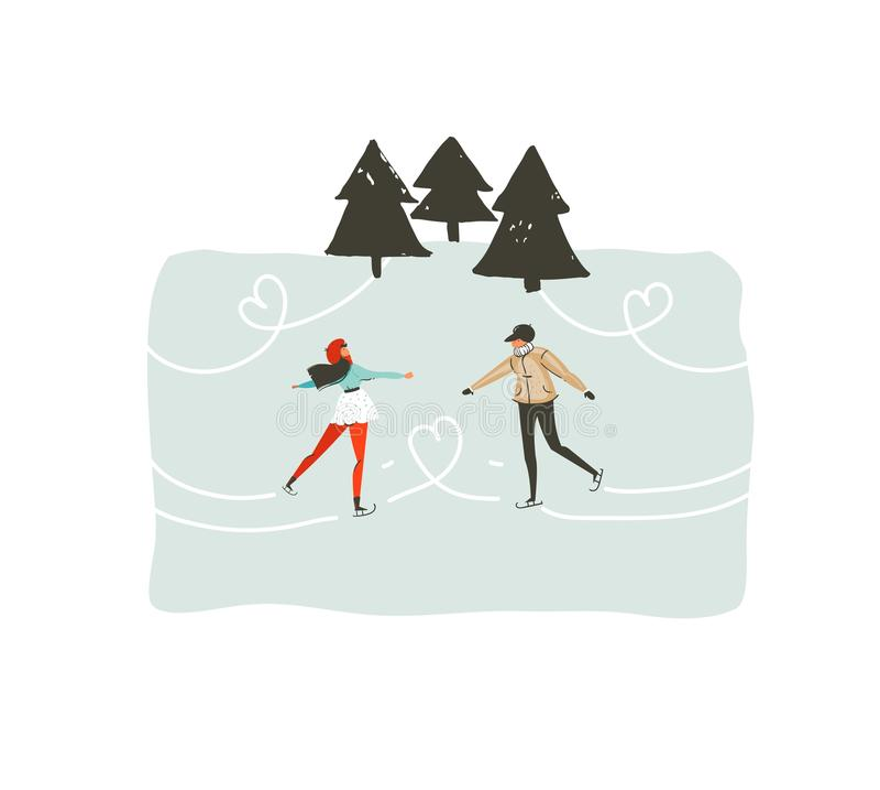 Dé a diversión exhausta del extracto del vector el ejemplo de la historieta del tiempo de la Feliz Navidad con los pares jovenes  ilustración del vector