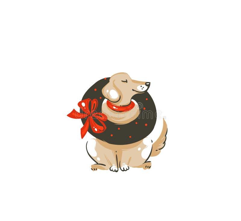 Dé a diversión exhausta del extracto del vector el ejemplo del icono de la historieta del tiempo de la Feliz Navidad con el perro libre illustration