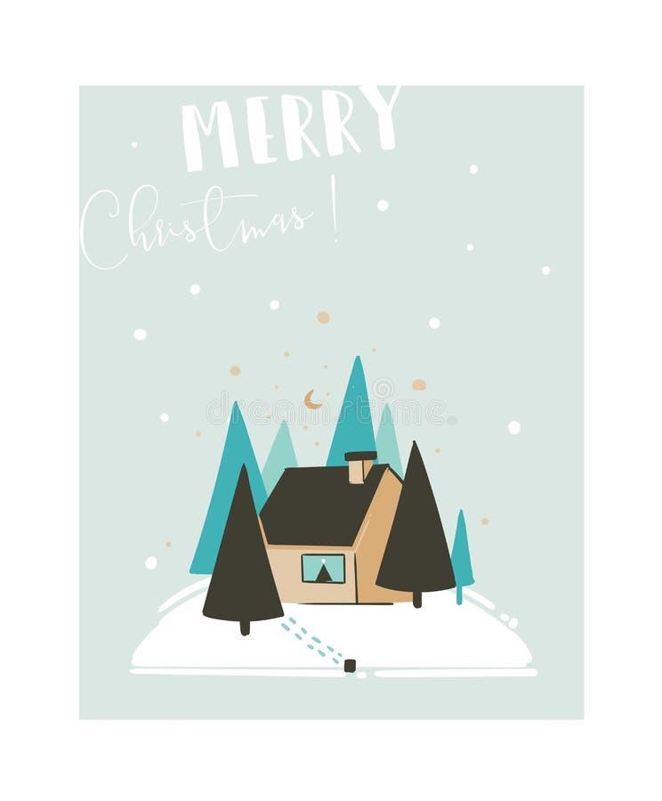 Dé a diversión exhausta del extracto del vector la tarjeta con paisaje al aire libre del invierno, árboles del ejemplo de la hist ilustración del vector
