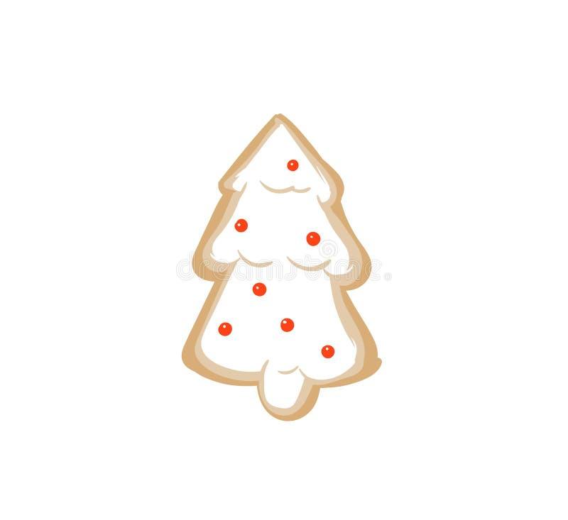 Dé a diversión exhausta del extracto del vector la tarjeta del ejemplo de la historieta del tiempo de la Feliz Navidad con la Nav libre illustration