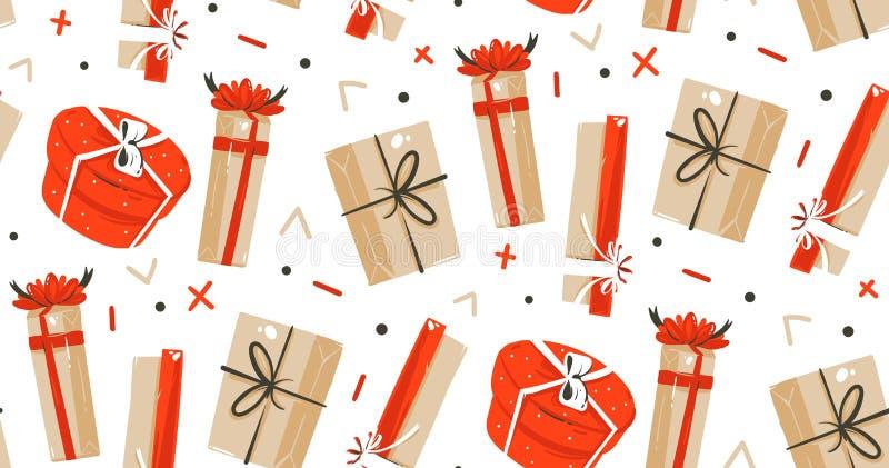 Dé a diversión exhausta del extracto del vector los ejemplos de la historieta del tiempo de la Feliz Navidad modelo inconsútil co stock de ilustración