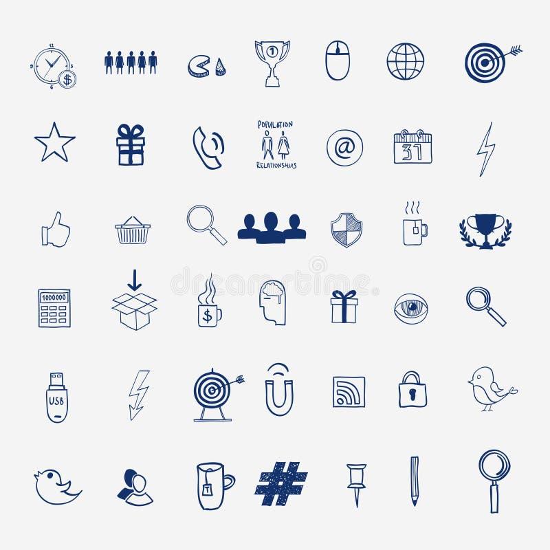 Dé a drenaje los medios garabatos sociales de la muestra y del símbolo libre illustration