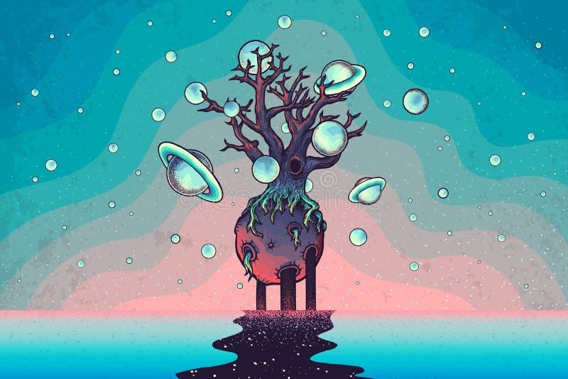 Dé el árbol abstracto exhausto del misterio en la luna en espacio profundo libre illustration