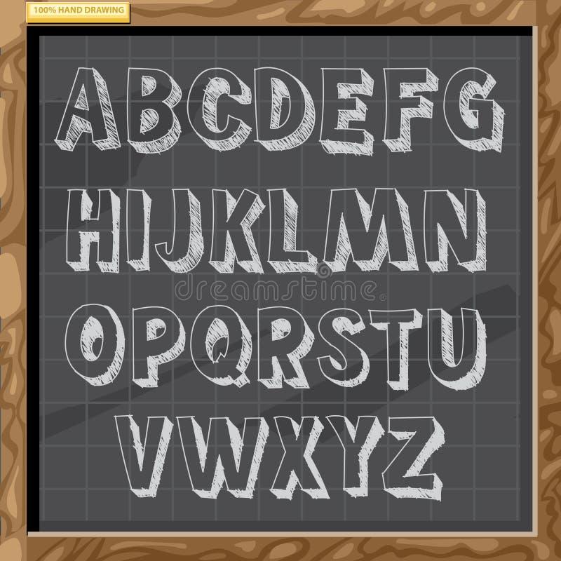 Dé el alfabeto exhausto en el estilo blanco de la tiza en un tablero marrón con rejilla stock de ilustración