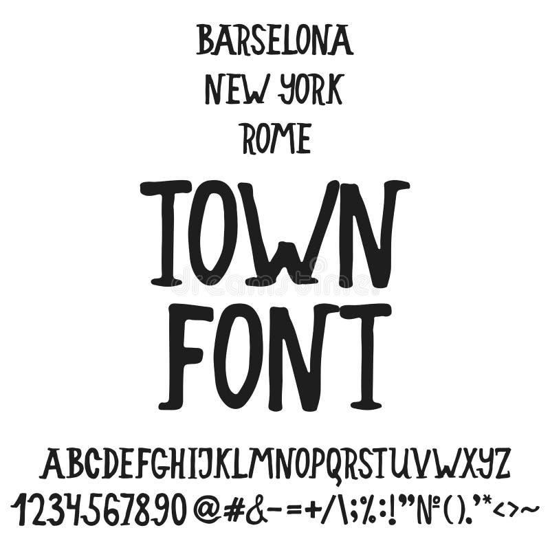 Dé el alfabeto inglés exhausto de la ciudad de las letras con ejemplos de esta fuente Letras manuscritas del cepillo moderno de l libre illustration