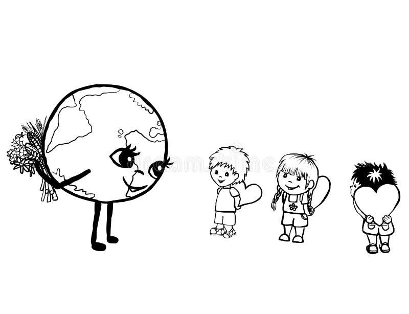 Dé el amor a nuestra tierra del planeta ilustración del vector