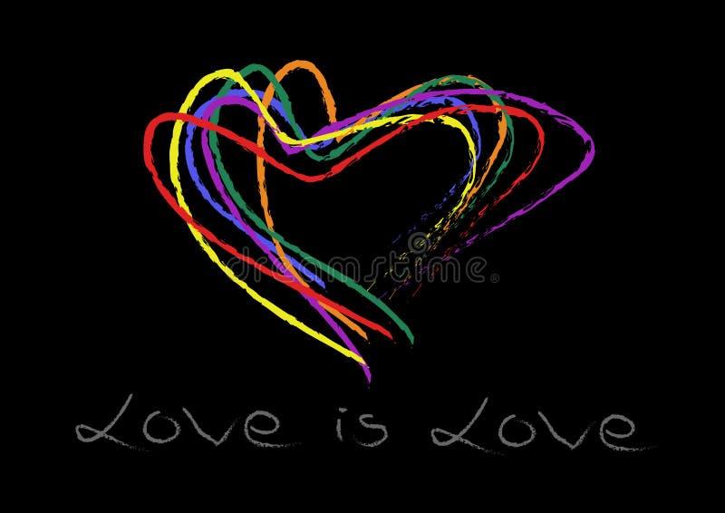 Dé el arco iris de la forma de los corazones de la escritura colorido en fondo negro El amor es escritura de la mano del amor Ayu fotos de archivo