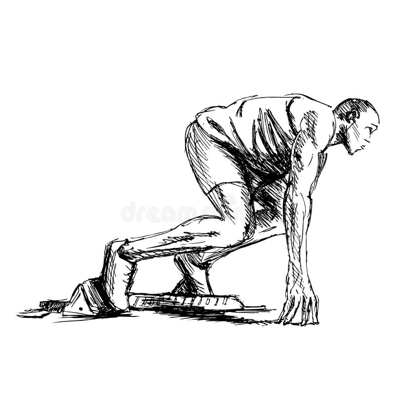 Dé el atleta del bosquejo en la pista que comienza a correr stock de ilustración
